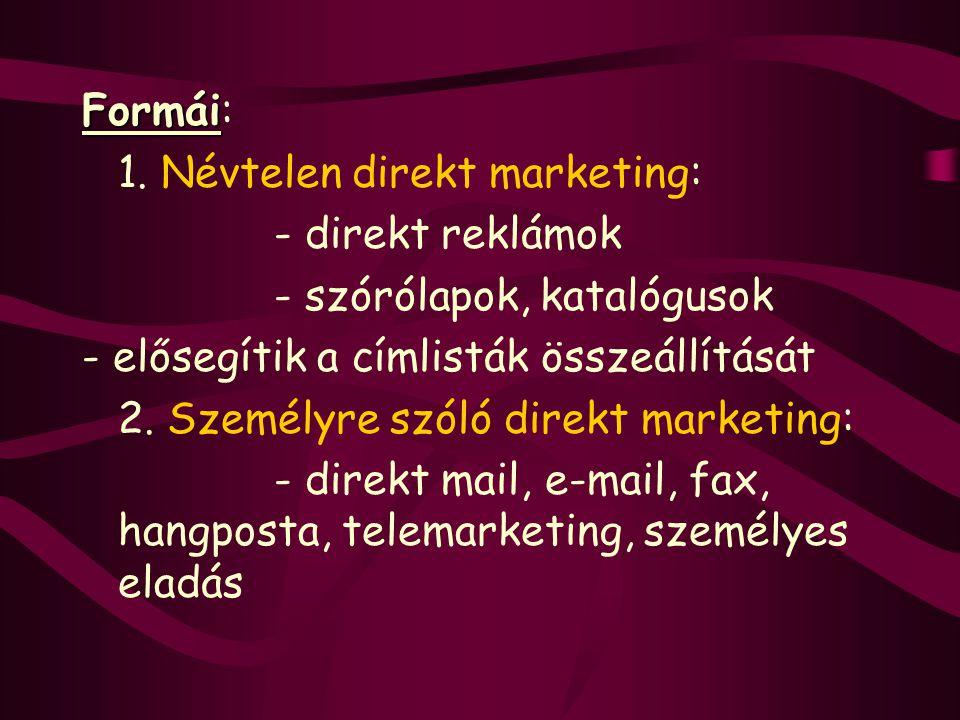 Formái: 1. Névtelen direkt marketing: - direkt reklámok. - szórólapok, katalógusok. - elősegítik a címlisták összeállítását.
