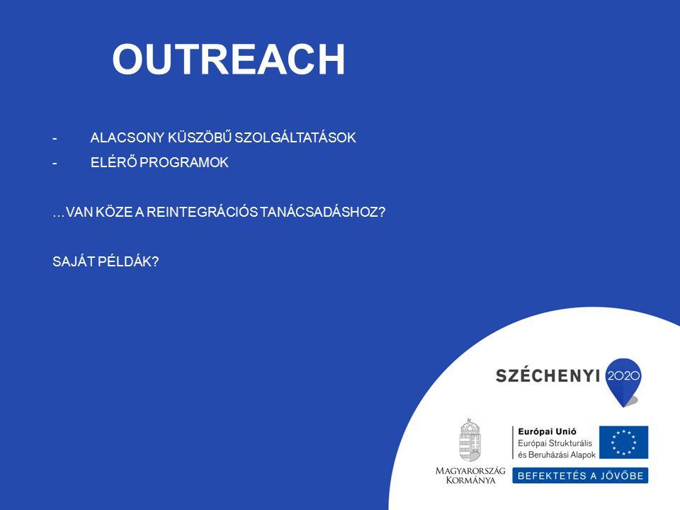 Outreach Alacsony küszöbű szolgáltatások Elérő programok