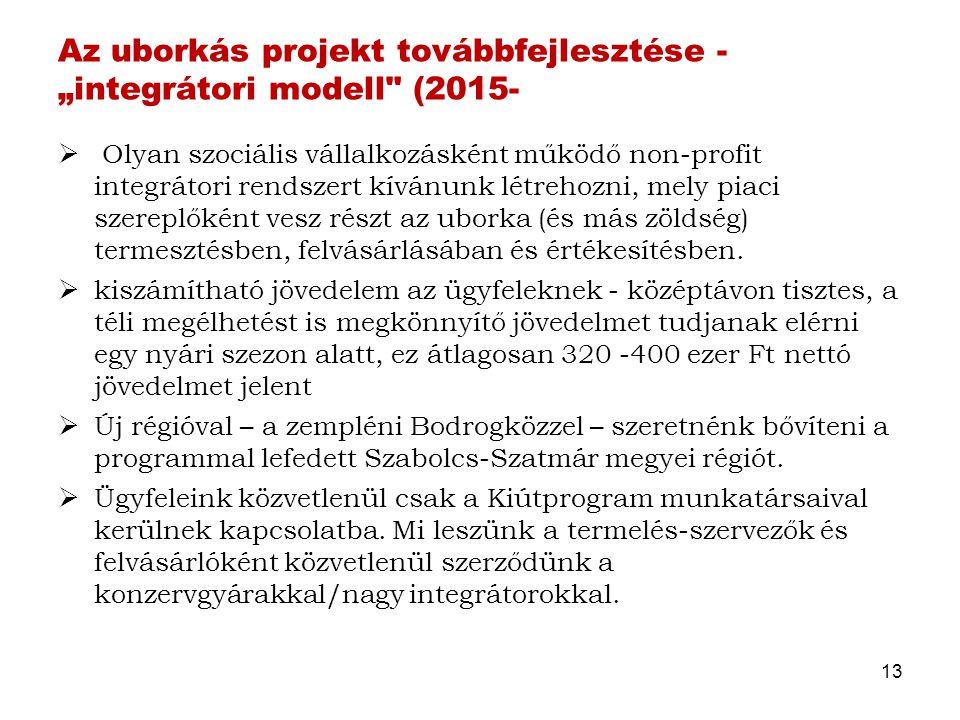 """Az uborkás projekt továbbfejlesztése - """"integrátori modell (2015-"""