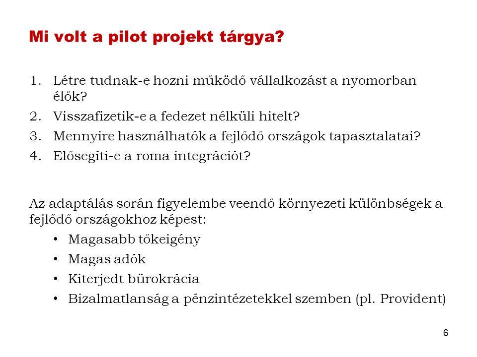 Mi volt a pilot projekt tárgya