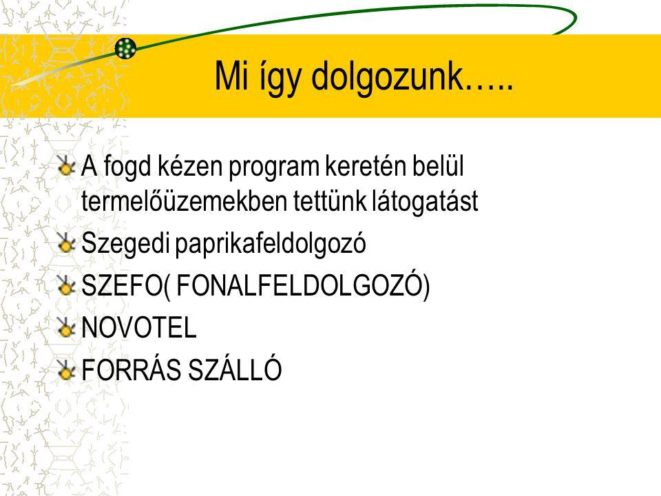 Mi így dolgozunk….. A fogd kézen program keretén belül termelőüzemekben tettünk látogatást. Szegedi paprikafeldolgozó.