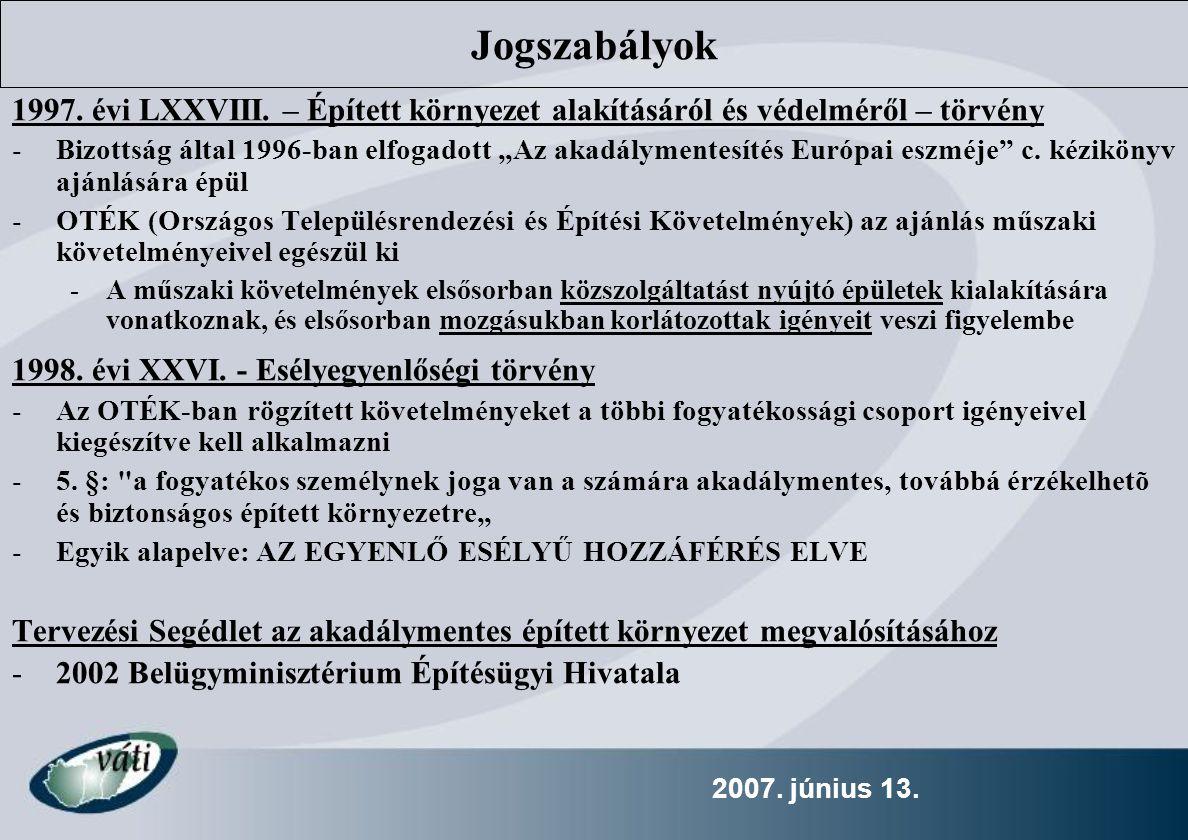 Jogszabályok 1997. évi LXXVIII. – Épített környezet alakításáról és védelméről – törvény.