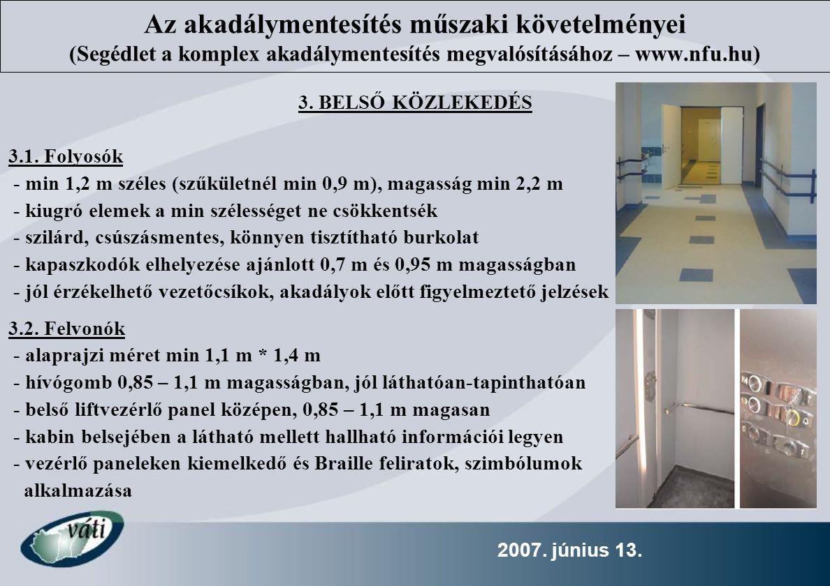 Az akadálymentesítés műszaki követelményei (Segédlet a komplex akadálymentesítés megvalósításához – www.nfu.hu)
