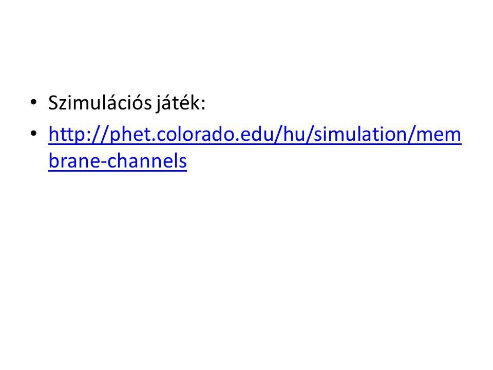 Szimulációs játék: http://phet.colorado.edu/hu/simulation/membrane-channels