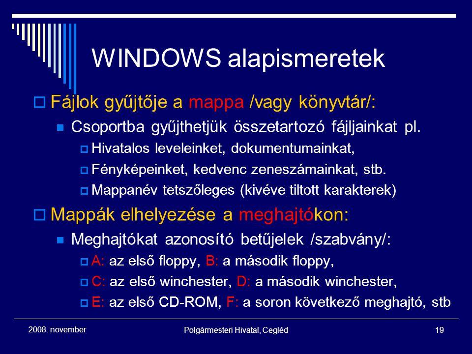 WINDOWS alapismeretek