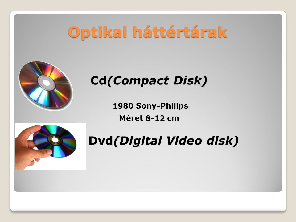 Cd(Compact Disk) Dvd(Digital Video disk)