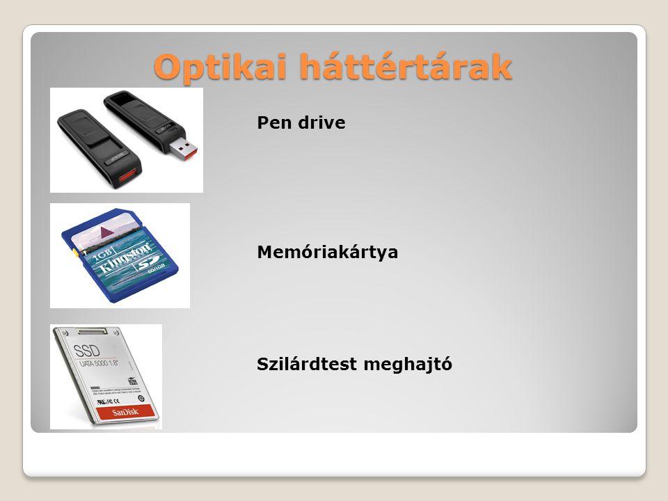 Optikai háttértárak Pen drive Memóriakártya Szilárdtest meghajtó
