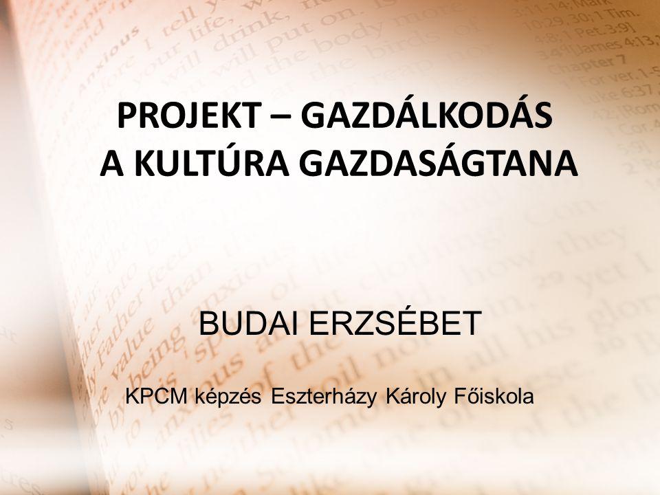 PROJEKT – GAZDÁLKODÁS A KULTÚRA GAZDASÁGTANA