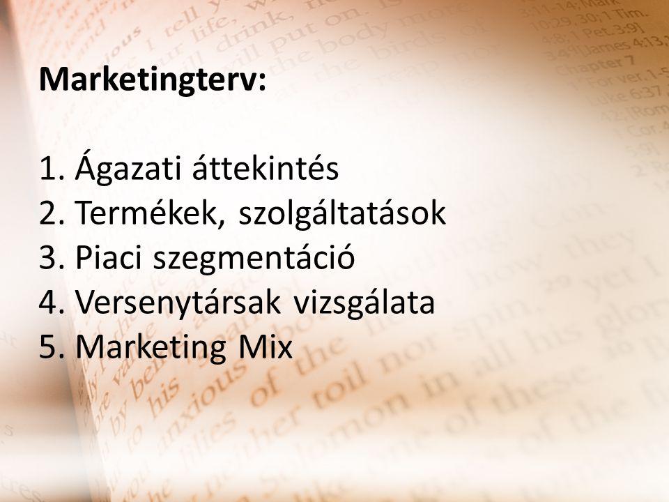 Marketingterv: 1. Ágazati áttekintés 2. Termékek, szolgáltatások 3