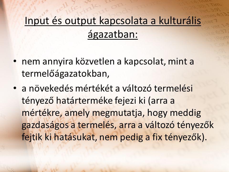 Input és output kapcsolata a kulturális ágazatban: