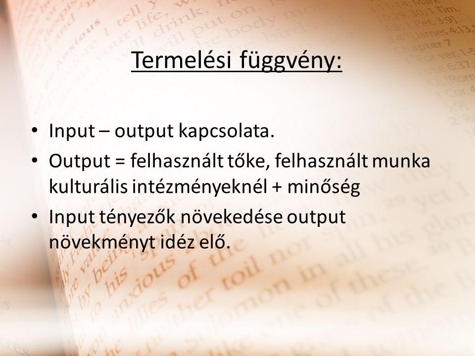Termelési függvény: Input – output kapcsolata.