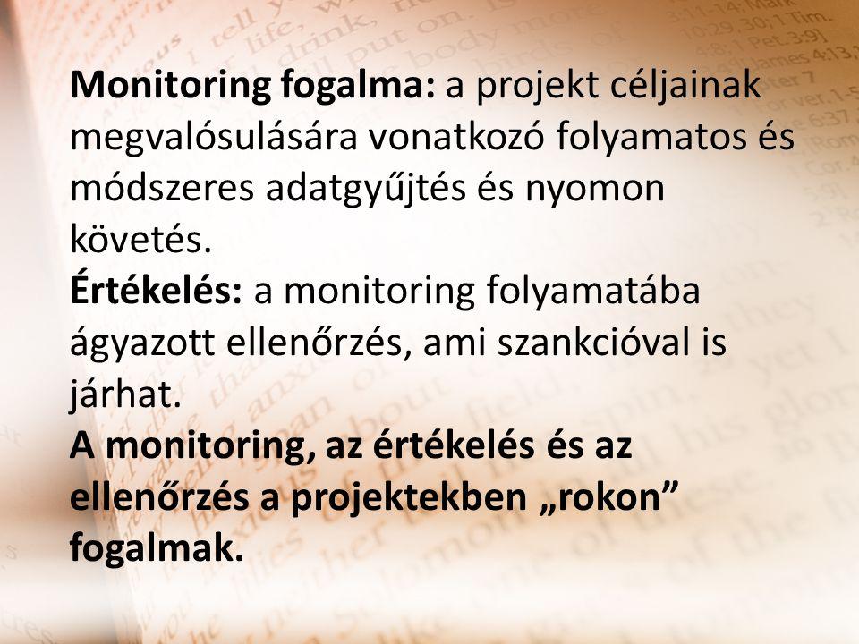 Monitoring fogalma: a projekt céljainak megvalósulására vonatkozó folyamatos és módszeres adatgyűjtés és nyomon követés.