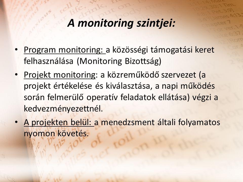A monitoring szintjei:
