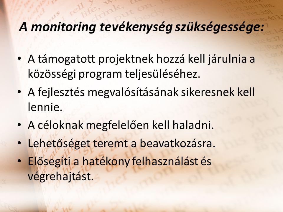 A monitoring tevékenység szükségessége: