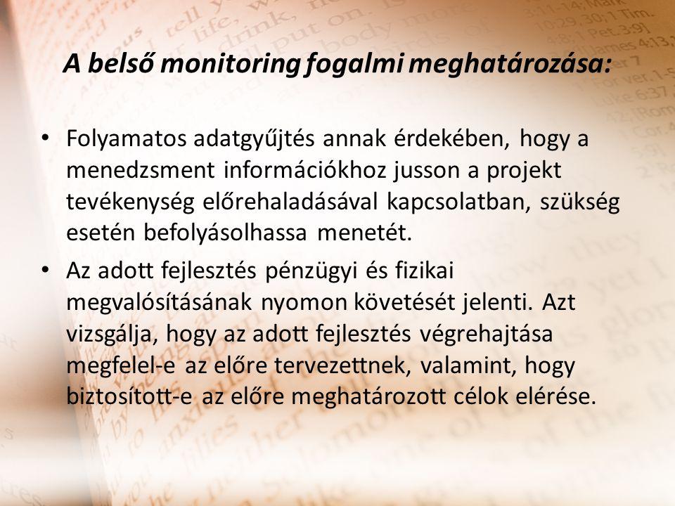 A belső monitoring fogalmi meghatározása: