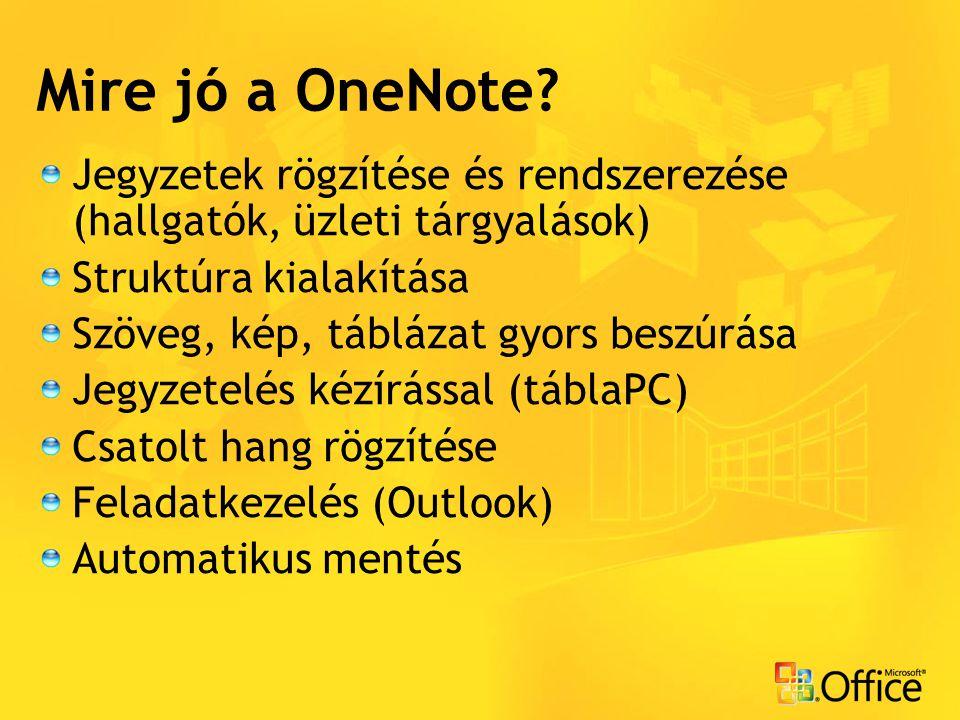Mire jó a OneNote Jegyzetek rögzítése és rendszerezése (hallgatók, üzleti tárgyalások) Struktúra kialakítása.