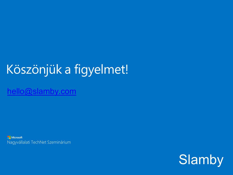 Köszönjük a figyelmet! hello@slamby.com Slamby