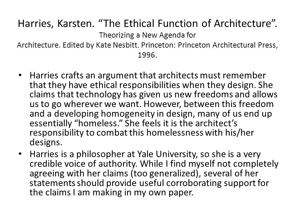 Harries, Karsten. The Ethical Function of Architecture