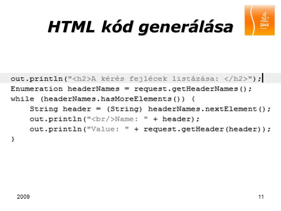 HTML kód generálása 2009