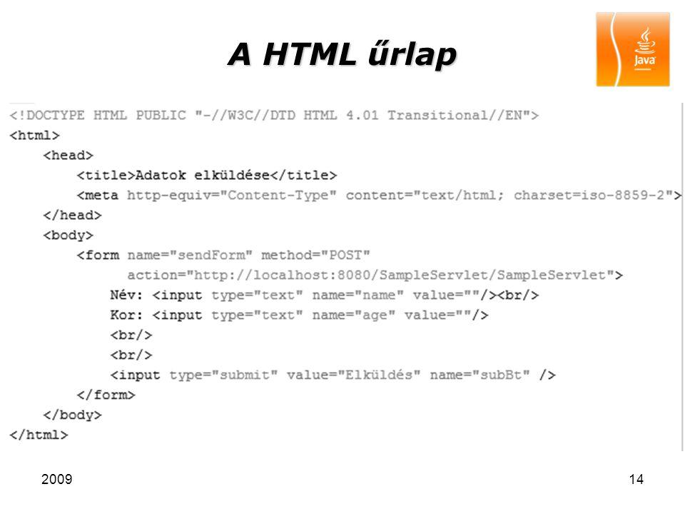 A HTML űrlap 2009