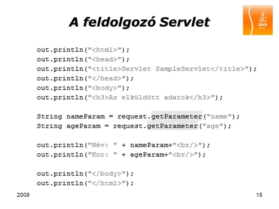A feldolgozó Servlet 2009