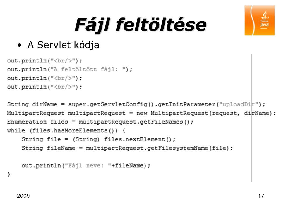Fájl feltöltése A Servlet kódja 2009