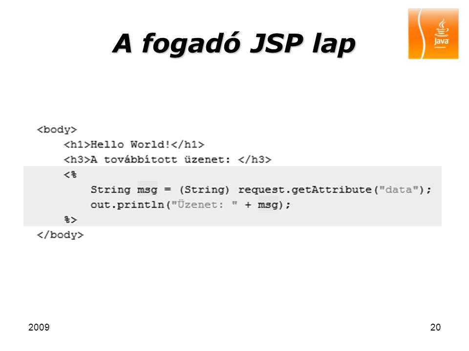 A fogadó JSP lap 2009
