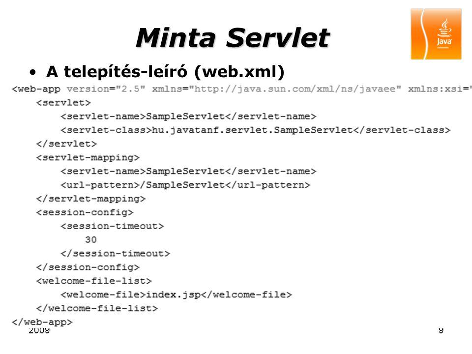 Minta Servlet A telepítés-leíró (web.xml) 2009