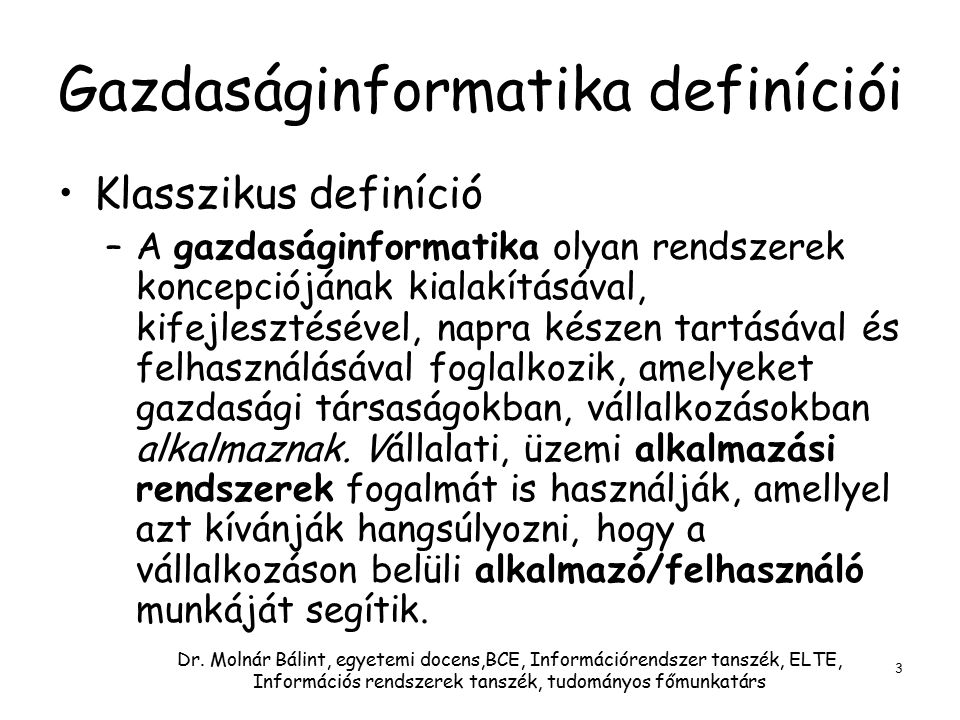Gazdaságinformatika definíciói