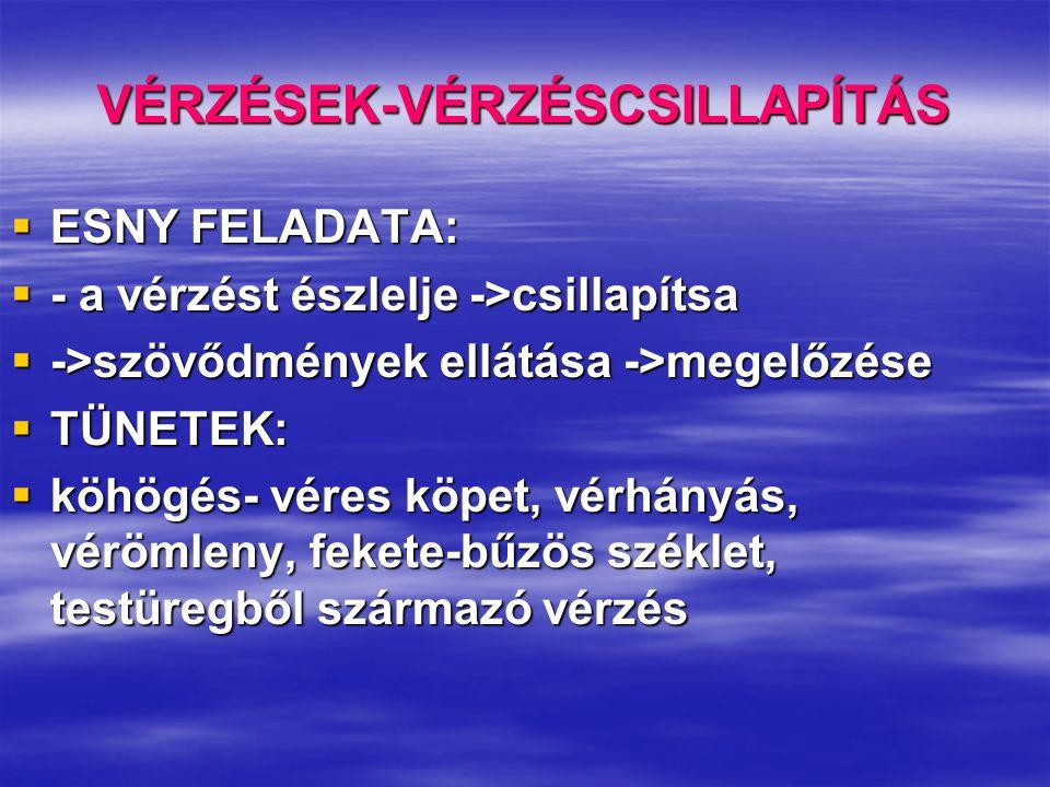 VÉRZÉSEK-VÉRZÉSCSILLAPÍTÁS