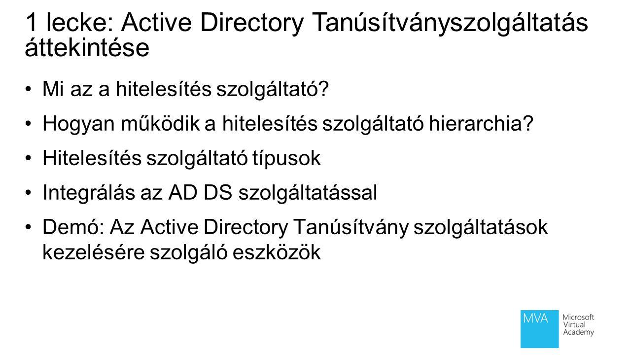 1 lecke: Active Directory Tanúsítványszolgáltatás áttekintése