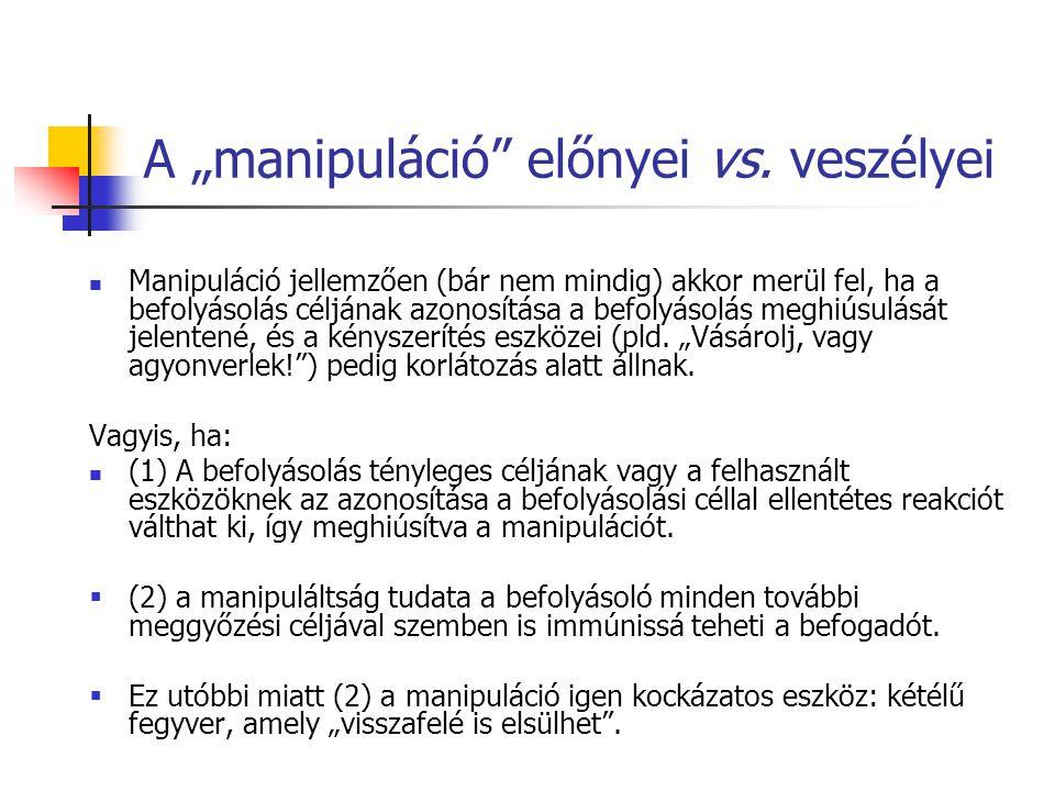 """A """"manipuláció előnyei vs. veszélyei"""