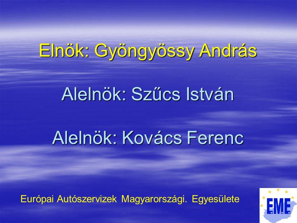 Elnök: Gyöngyössy András Alelnök: Szűcs István Alelnök: Kovács Ferenc