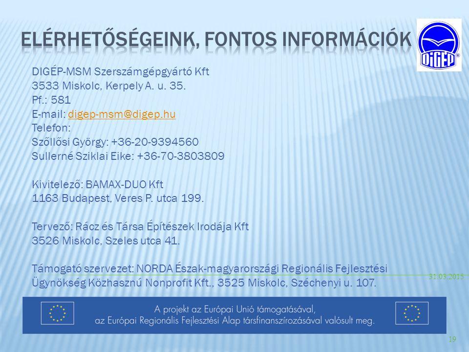 Elérhetőségeink, fontos információk