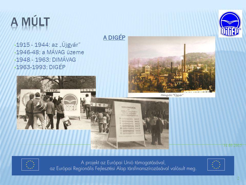 """A múlt A DIGÉP 1915 - 1944: az """"Újgyár 1946-48: a MÁVAG üzeme"""
