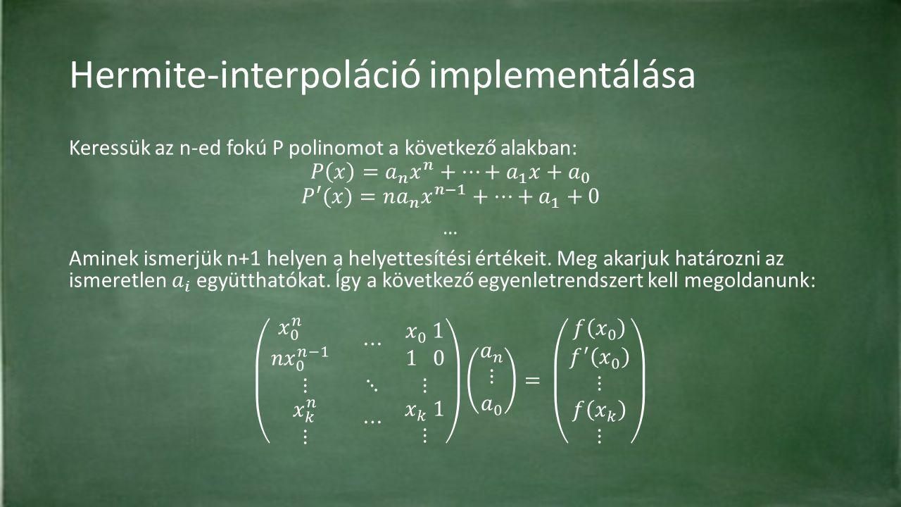 Hermite-interpoláció implementálása