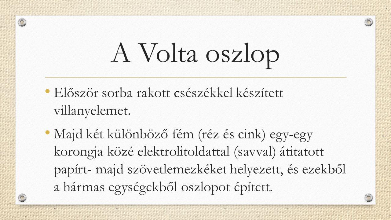 A Volta oszlop Először sorba rakott csészékkel készített villanyelemet.