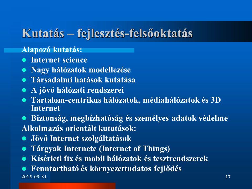 Kutatás – fejlesztés-felsőoktatás