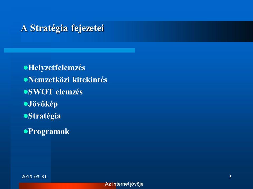 A Stratégia fejezetei Helyzetfelemzés Nemzetközi kitekintés