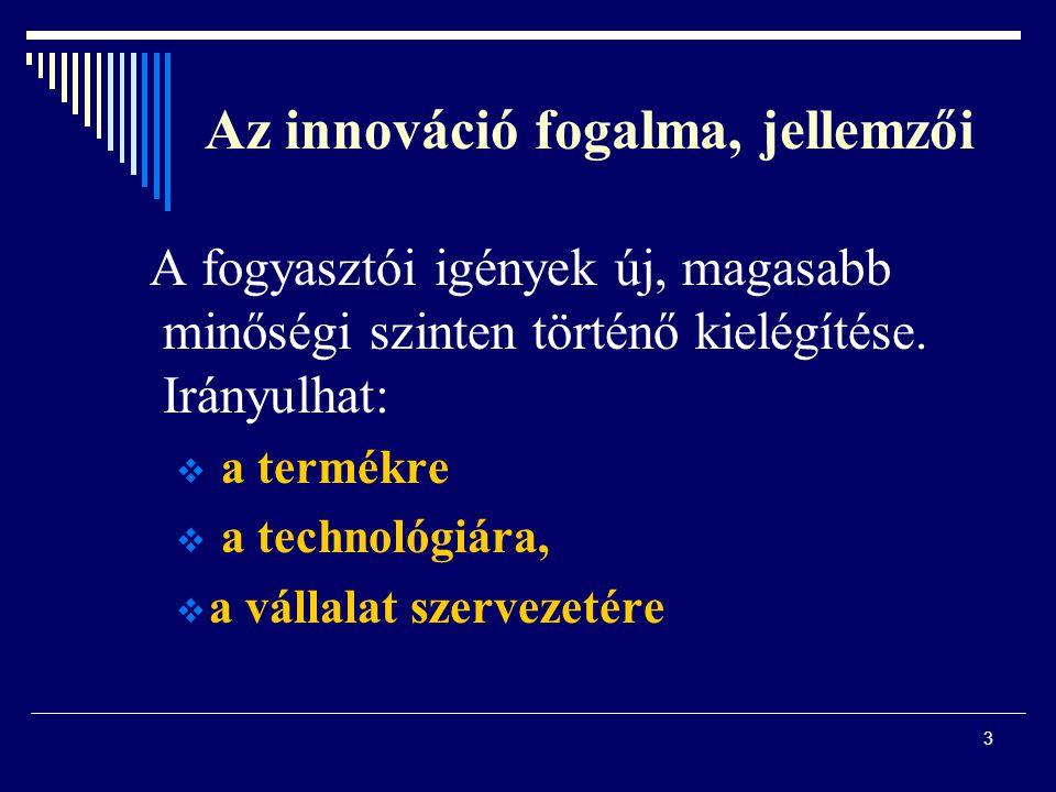 Az innováció fogalma, jellemzői