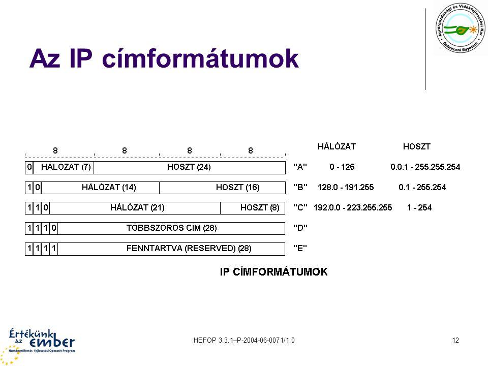 Az IP címformátumok HEFOP 3.3.1–P-2004-06-0071/1.0