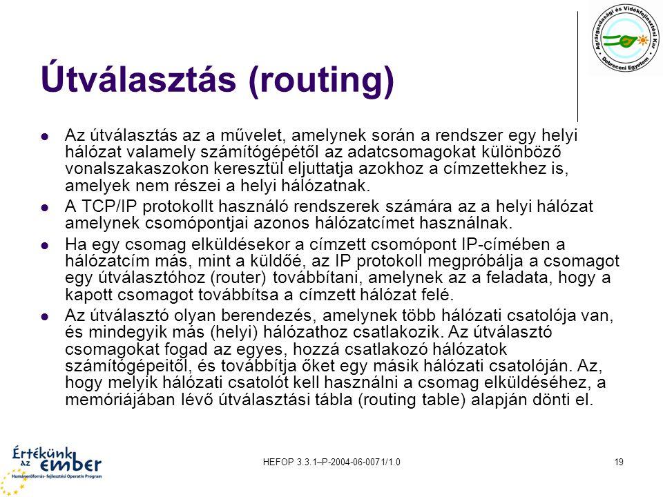 Útválasztás (routing)
