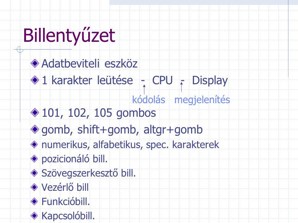 Billentyűzet Adatbeviteli eszköz 1 karakter leütése - CPU - Display