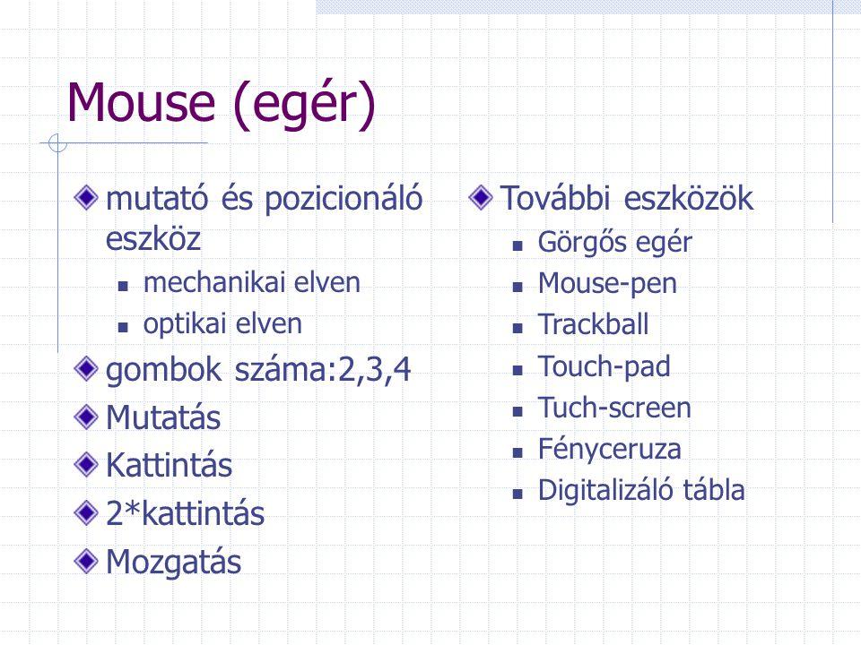 Mouse (egér) mutató és pozicionáló eszköz gombok száma:2,3,4 Mutatás