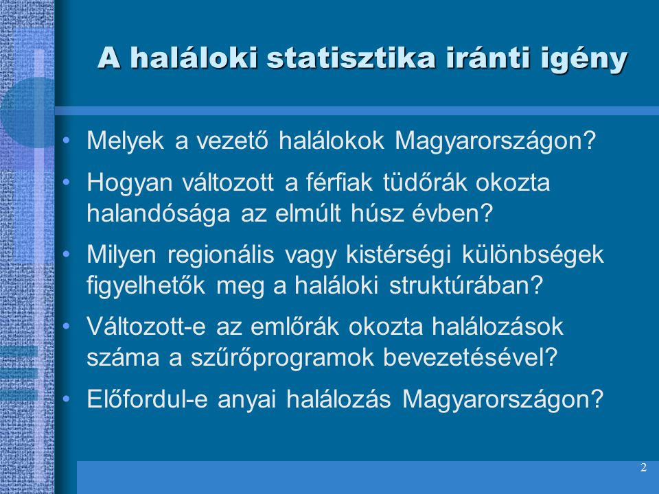 A haláloki statisztika iránti igény