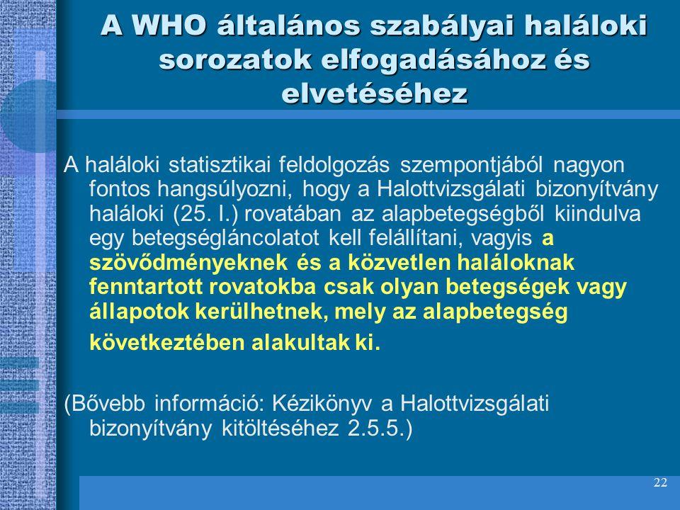 A WHO általános szabályai haláloki sorozatok elfogadásához és elvetéséhez
