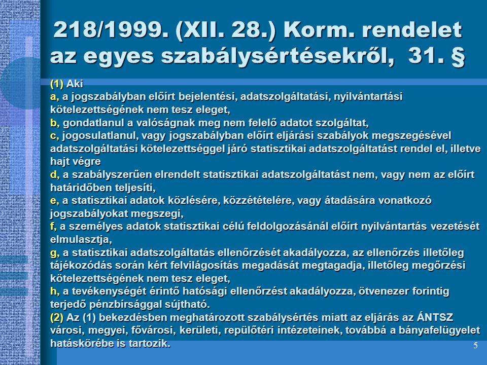 218/1999. (XII. 28.) Korm. rendelet az egyes szabálysértésekről, 31. §