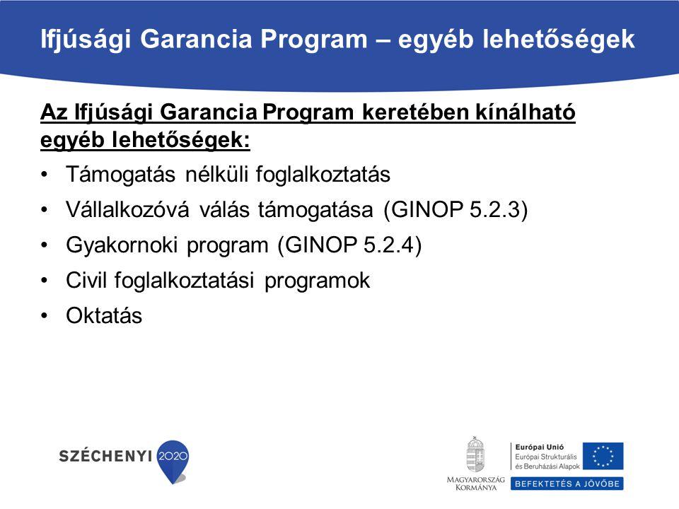 Ifjúsági Garancia Program – egyéb lehetőségek