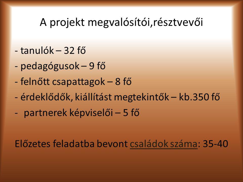 A projekt megvalósítói,résztvevői