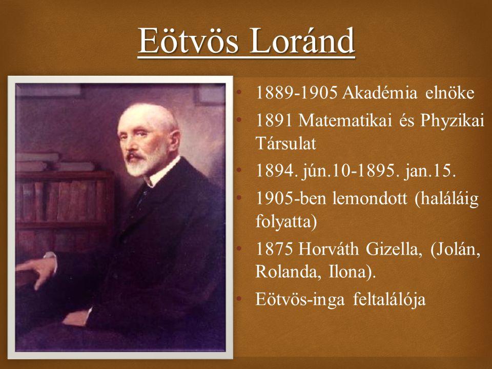 Eötvös Loránd 1889-1905 Akadémia elnöke